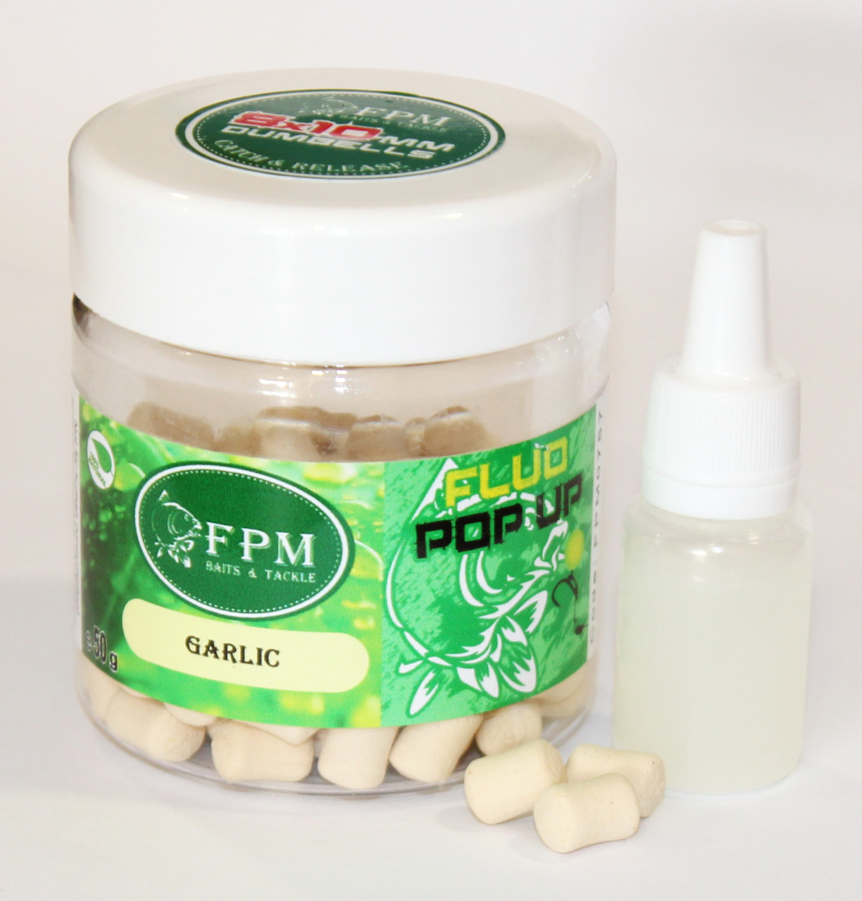 Dumbells FPM Pop-Up Fluo Garlic 8-10мм 50г в банке + Dip 10мл