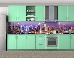 Кухонный фартук Огни ночных небоскребов, Самоклеящаяся скинали с фотопечатью, Город ночью, фиолетовый