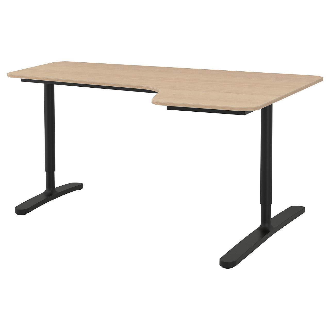 Компьютерный стол IKEA BEKANT 160x110 см черный светло-коричневый 192.828.77
