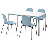TORSBY / LEIFARNE Стол и 4 стула, глянец, белый, светло-голубой 991.615.60