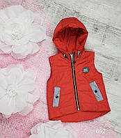 Жилетка код 692Д для девочки, размер 80-98 (1,5-3 лет), цвет - красный, фото 1