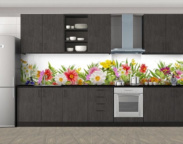 Кухонный фартук Бабушкин сад, Стеновая панель с фотопечатью, Цветы, зеленый