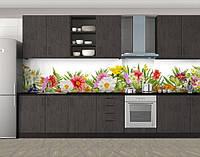 Кухонный фартук Бабушкин сад, Стеновая панель с фотопечатью, Цветы, зеленый, фото 1