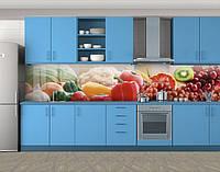 Кухонный фартук Свежие овощи и фрукты, Самоклеящаяся стеновая панель для кухни, Еда, напитки, красный