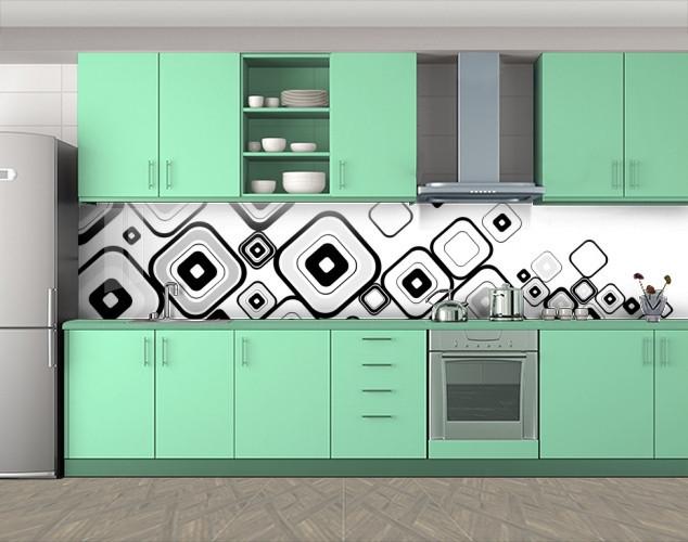Кухонный фартук Черно-белые квадраты, Пленка для кухонного фартука с фотопечатью, Абстракции, белый