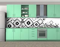 Кухонный фартук Черно-белые квадраты, Пленка для кухонного фартука с фотопечатью, Абстракции, белый, фото 1