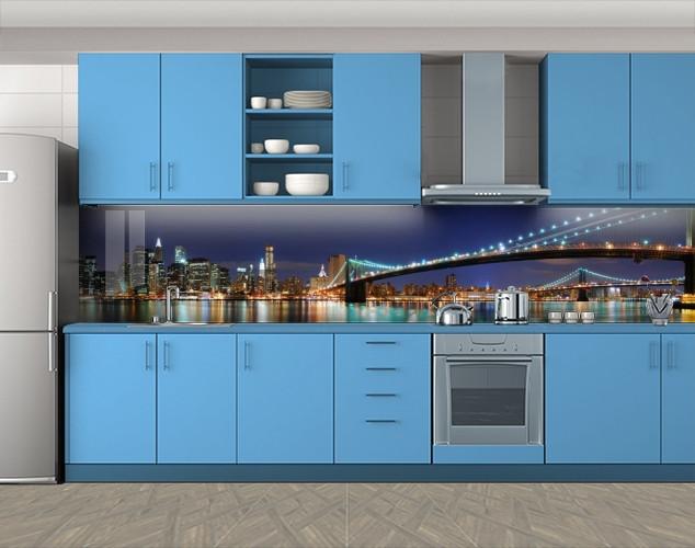 Кухонный фартук Ночное отражение огней города, Защитная пленка на кухонный фартук с фотопечатью, Мосты, синий