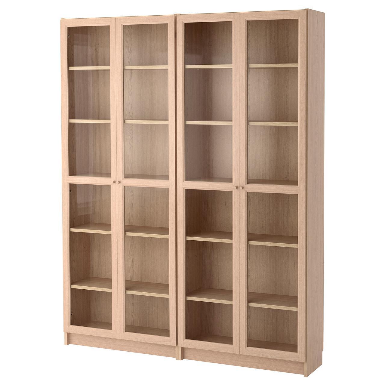Стеллаж IKEA BILLY / OXBERG беленый дуб стеклянные дверки 492.499.66