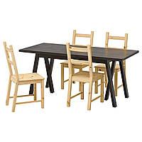 RYGGESTAD/ GREBBESTAD / IVAR Стол и 4 стула, черный, сосна 691.026.28