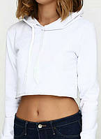Кроп топ женский спортивный с капюшоном белый