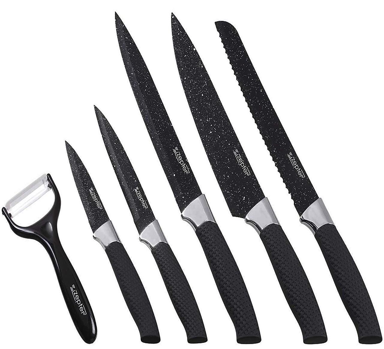 Набор ножей с антипригарным покрытием 6 предметов Zepter ЕС1 гладкая поверхность