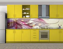 Кухонный фартук Рисованный цветок, Защитная пленка на кухонный фартук с фотопечатью, Цветы, фиолетовый