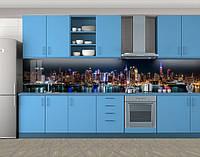 Кухонный фартук Огни ночного Гонконга, Пленка для кухонного фартука с фотопечатью, Город ночью, синий