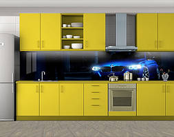 Кухонный фартук Синяя машина в темноте, Стеновая панель с фотопечатью, Транспорт, черный, 600*3000 мм