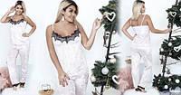 Бархатная велюровая женская пижама брюки штаны майка с кружевом батал больших размеров пудра 48-50 50-52