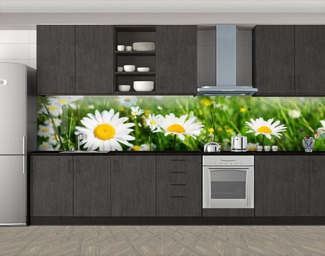 Кухонный фартук Солнечные ромашки, Фотопечать скинали на кухню, Цветы, зеленый, 600*3000 мм