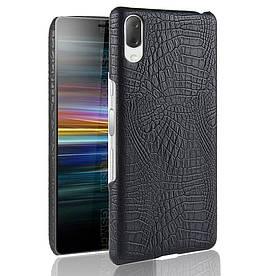 Чехол накладка для Sony Xperia L3 I3312 с кожаной поверхностью, Крокодиловая кожа, черный
