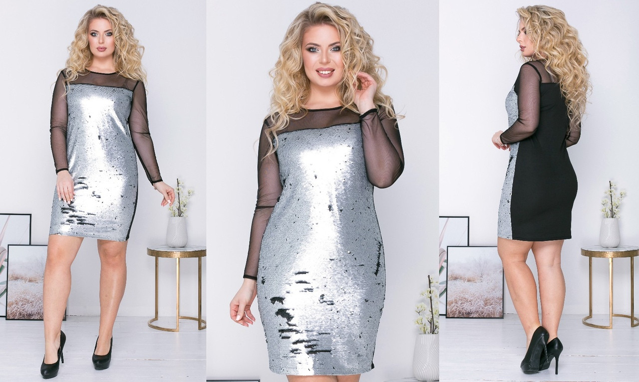 """Нарядное комбинированное мини-платье """"Вивьен"""" с пайетками и длинным рукавом сеткой (большие размеры)"""