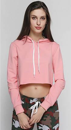 Кроп топ женский спортивный с капюшоном персиковый, фото 2