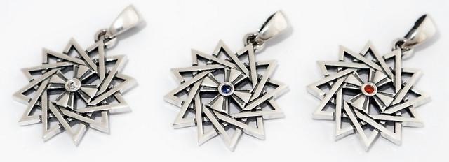 Купить серебряную двухстороннюю звезду эрцгаммы с камнями