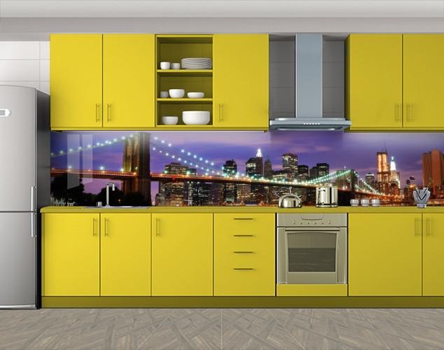 Кухонный фартук Нарисованный городской мост, Стеновая панель с фотопечатью, Мосты, фиолетовый