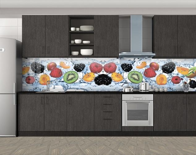 Кухонный фартук Фрукты и ягоды в воде, Фотопечать кухонного фартука на самоклейке, Еда, напитки, голубой