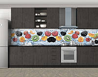 Кухонный фартук Фрукты и ягоды в воде, Фотопечать кухонного фартука на самоклейке, Еда, напитки, голубой, фото 1