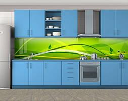 Кухонный фартук Березовая фантазия, Самоклеящаяся скинали с фотопечатью, Абстракции, зеленый