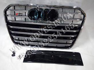 Решетка радиатора Audi A6 C7 2011-2014 стиль S6 (Black)