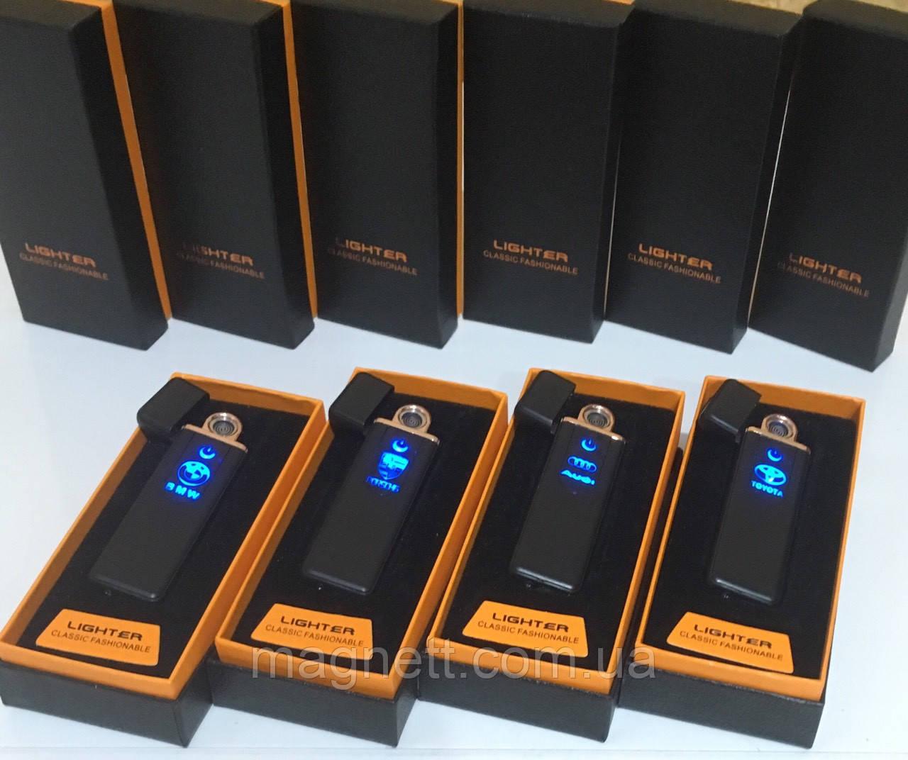 Сенсорная USB зажигалка Lighter с маркой автомобиля «Audi, Toyota, Mercedes, BMW, Porsche»