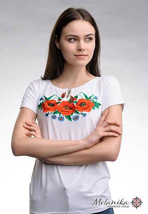 Модна жіноча вишита футболка у білому кольорі із квітами «Макове поле», фото 2