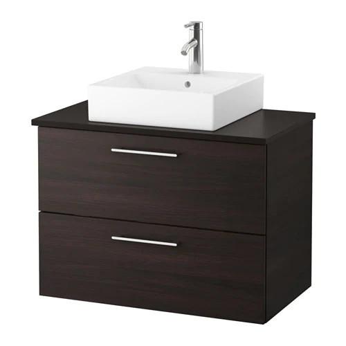 Шкаф с раковиной IKEA GODMORGON / TOLKEN / TÖRNVIKEN 82x49x72 см с ящиками коричневый антрацит 091.848.01
