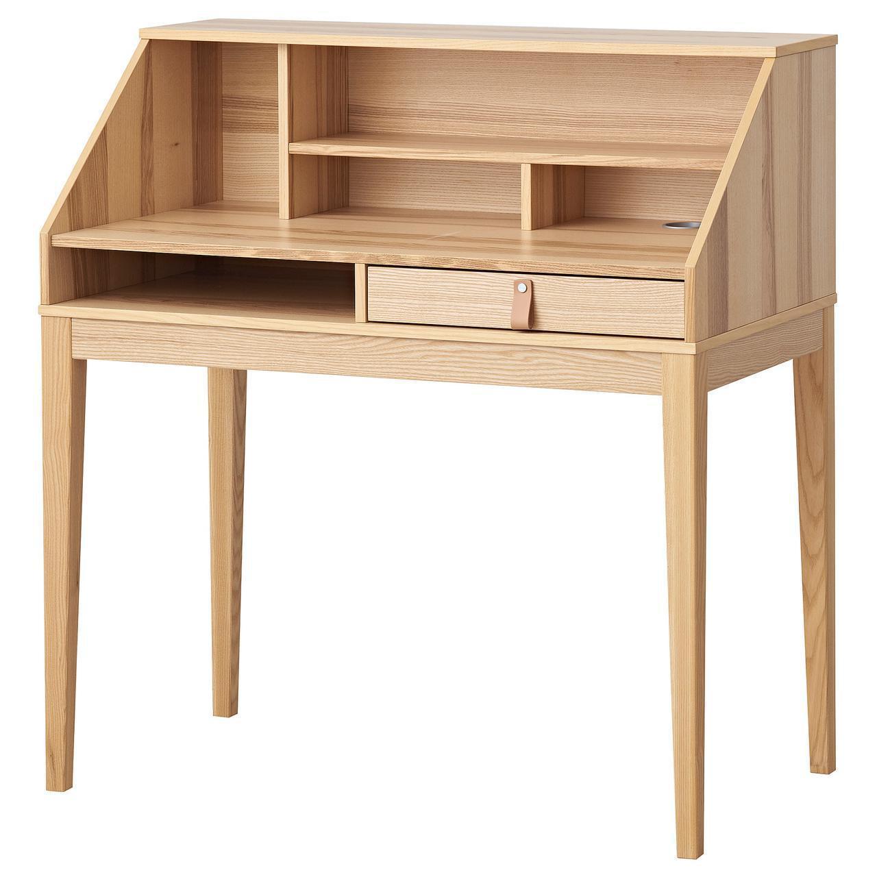 Стол IKEA FLIGGEN 100x55 см с полкой ясеневый шпон 504.126.78