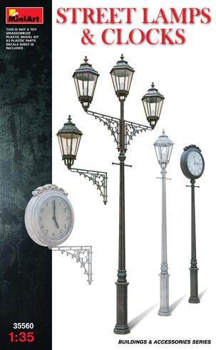Сборная модель. Уличные  фонарные  столбы  с уличными часами.1/35 MINIART 35560