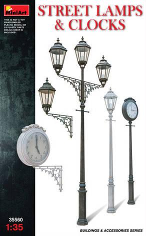 Сборная модель. Уличные  фонарные  столбы  с уличными часами.1/35 MINIART 35560, фото 2