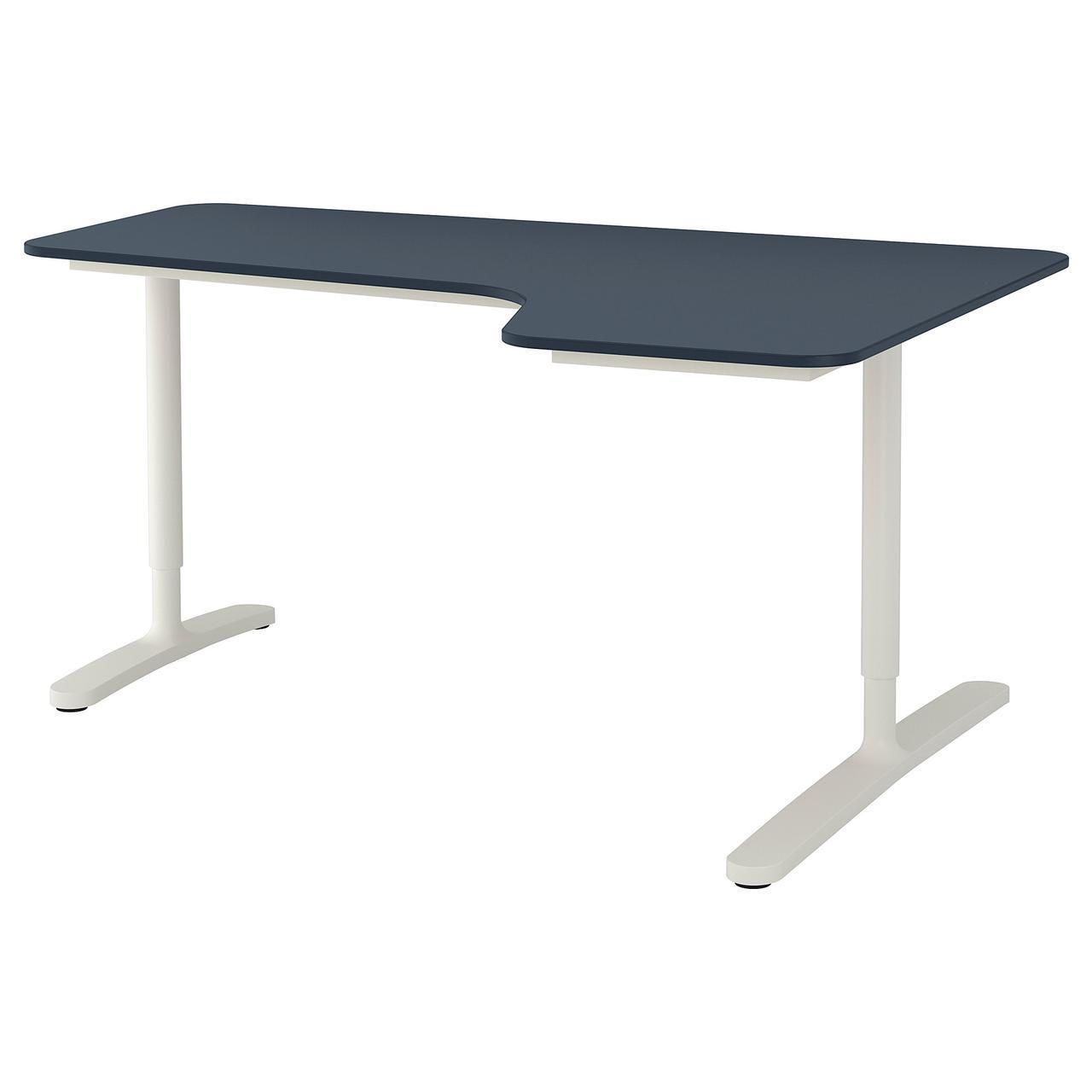 Компьютерный стол IKEA BEKANT 160x110 см белый синий 692.828.89