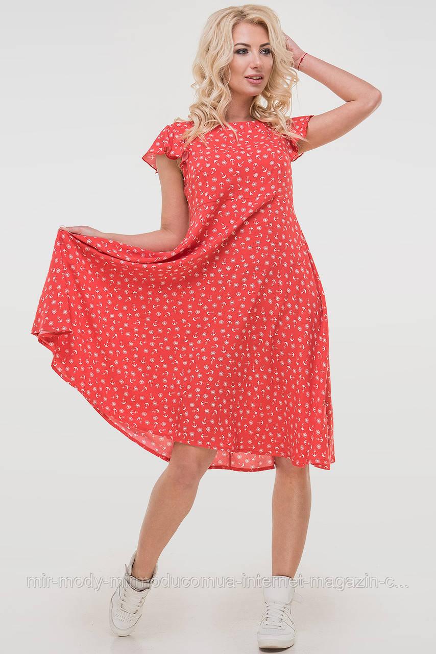 Летнее платье с расклешённой юбкой красного цвета  с 44 по 50  размер (влн)