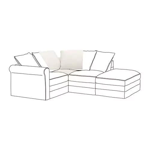 Угловая секция модульного дивана IKEA GRÖNLID Inseros белый 592.547.02