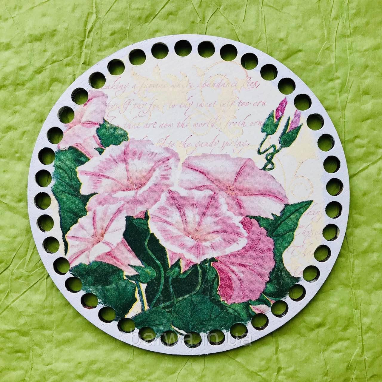 Круглое цветное дно, Цветы 02,15 см