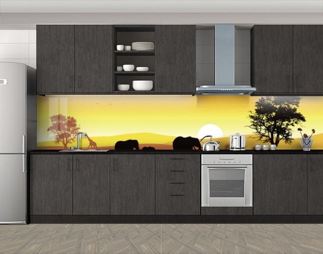 Кухонный фартук Силуэты Африки, слоны, Фотопечать кухонного фартука на самоклейке, Животный мир, желтый