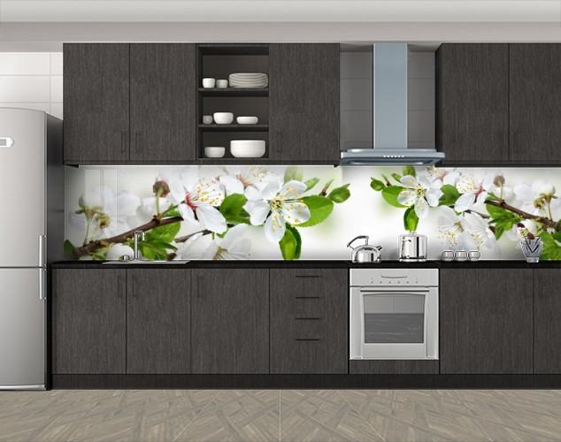 Кухонный фартук Цвет вишни, Скинали с фотоизображением на самоклеящейся пленке, Цветы, белый, 600*3000 мм