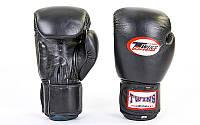 Перчатки боксерские кожаные на липучке TWIN (р-р 10-14oz, черный)