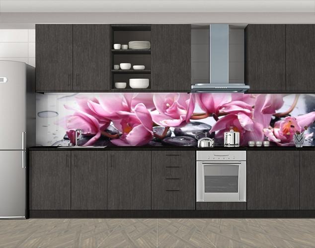 Кухонный фартук Цветущая ветка розовых орхидей, Самоклеящаяся стеновая панель для кухни, Цветы, розовый