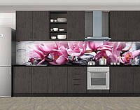 Кухонный фартук Цветущая ветка розовых орхидей, Самоклеящаяся стеновая панель для кухни, Цветы, розовый, фото 1