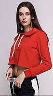 Кроп топ женский спортивный с капюшоном красный
