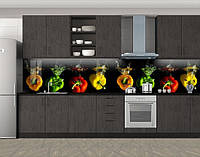 Кухонный фартук Перчики Всплеск, Пленка самоклеящаяся для скинали, Еда, напитки, черный