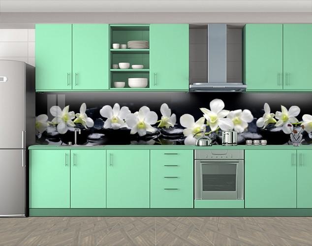 Кухонный фартук Белые орхидеи, Кухонный фартук на самоклеящееся пленке с фотопечатью, Цветы, черный, 600*3000 мм
