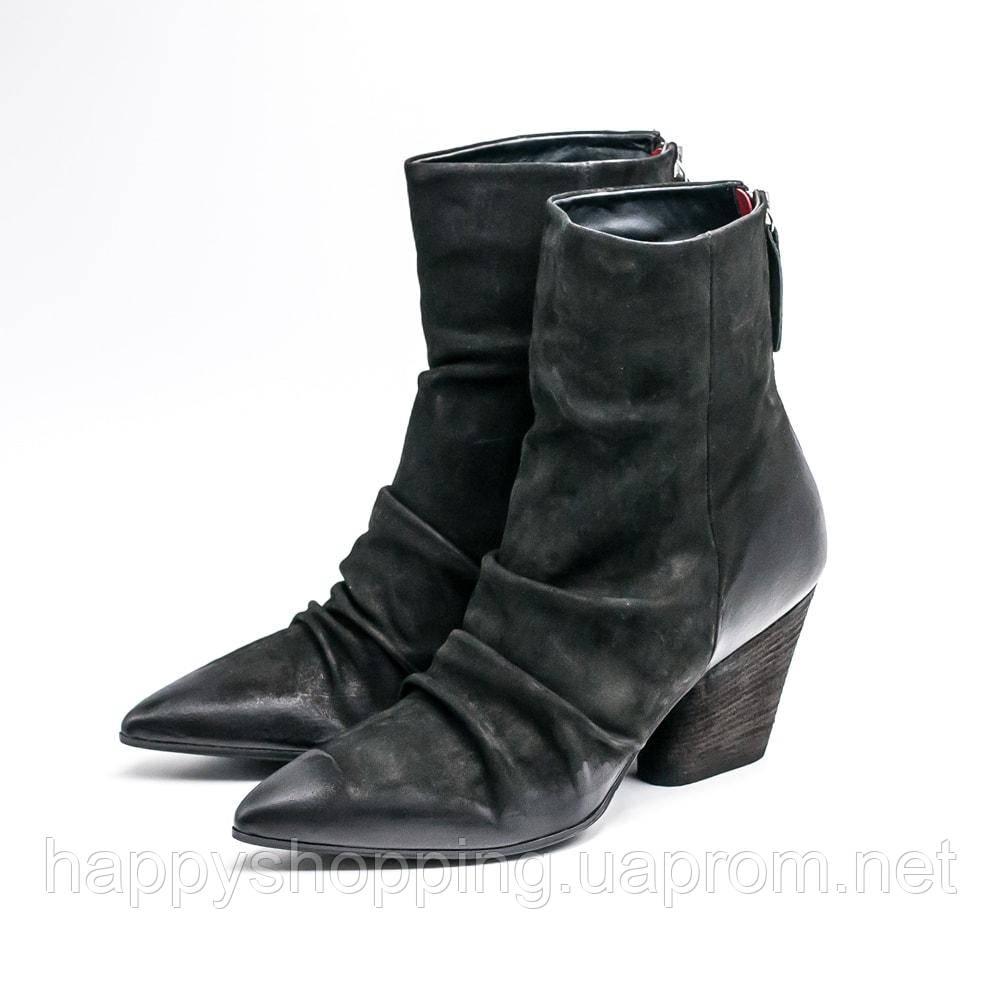Женские оригинальные черные замшевые ботинки на каблуке итальянского бренда Harmanera