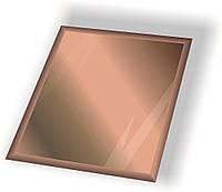 Дзеркальна плитка НСК квадрат 80х80 мм фацет 15 мм бронза, фото 1