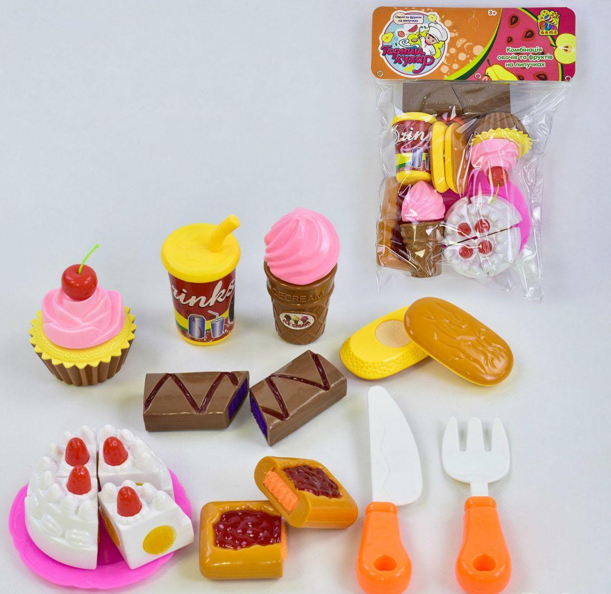 Игровой набор продукты на липучке -сладости, тортик, 1039